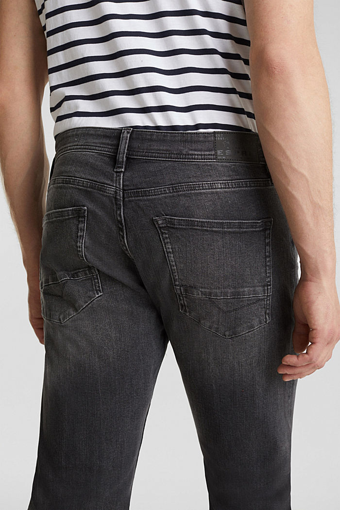 Washed-out effect stretch jeans, BLACK MEDIUM WASHED, detail image number 6