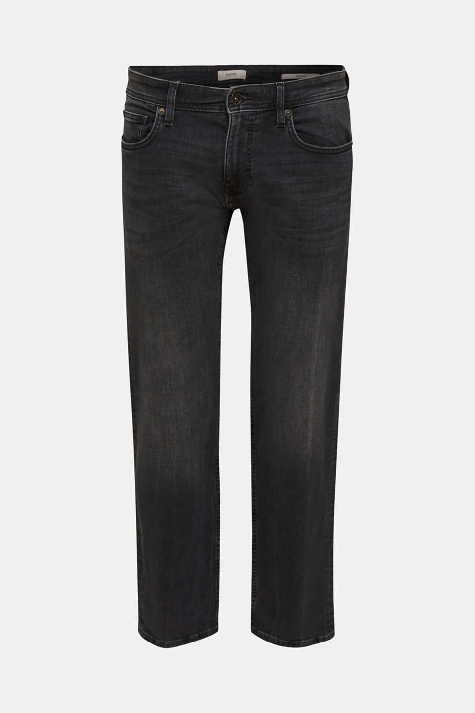Washed-out effect stretch jeans, BLACK MEDIUM WASH, detail image number 6