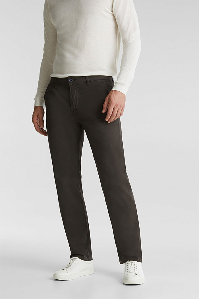 Stretch chinos made of twill, DARK GREY, detail image number 0