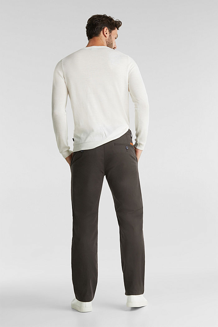 Stretch chinos made of twill, DARK GREY, detail image number 3