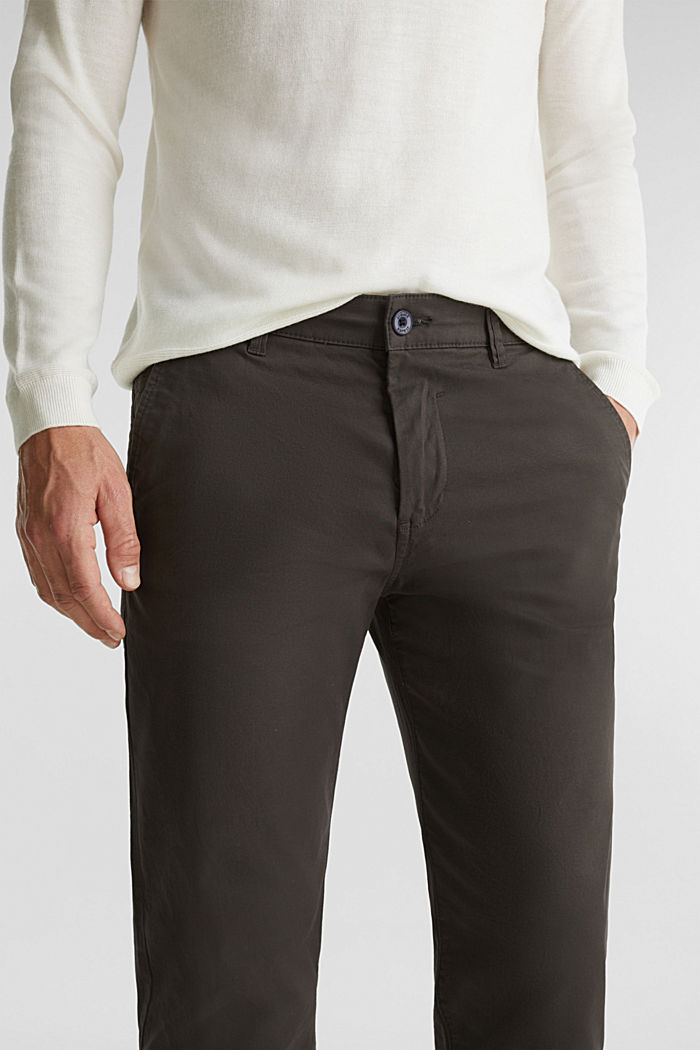 Stretch chinos made of twill, DARK GREY, detail image number 2