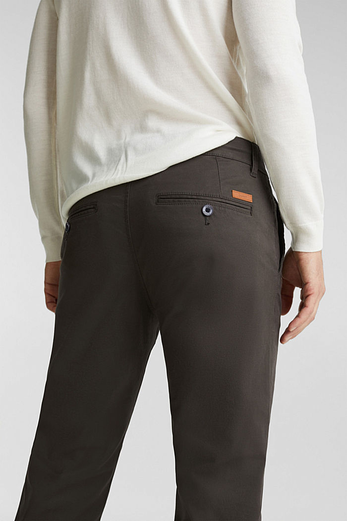 Stretch chinos made of twill, DARK GREY, detail image number 5