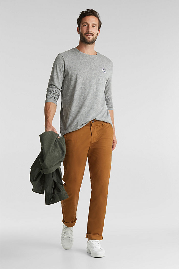 Stretch chinos made of twill, CAMEL, detail image number 0
