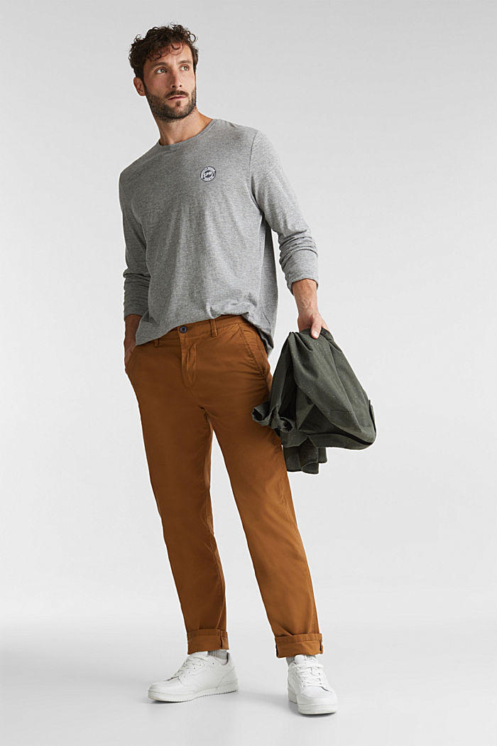 Stretch chinos made of twill, CAMEL, detail image number 1