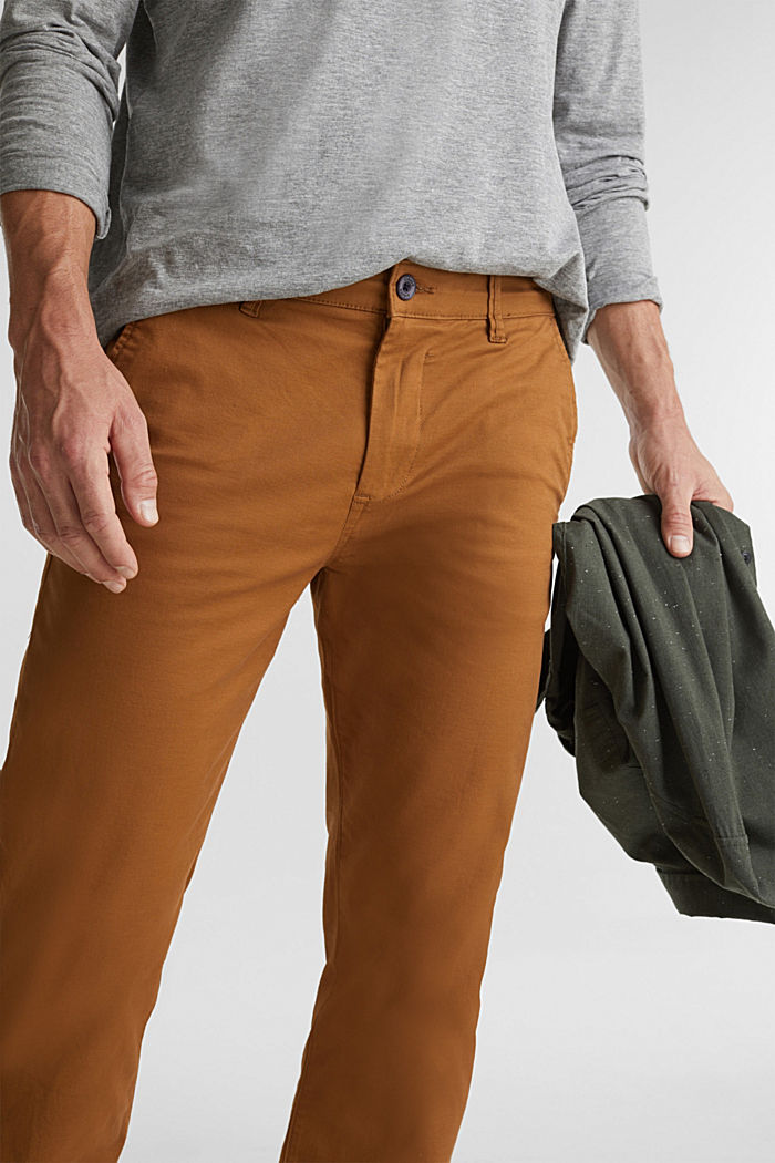 Stretch chinos made of twill, CAMEL, detail image number 2