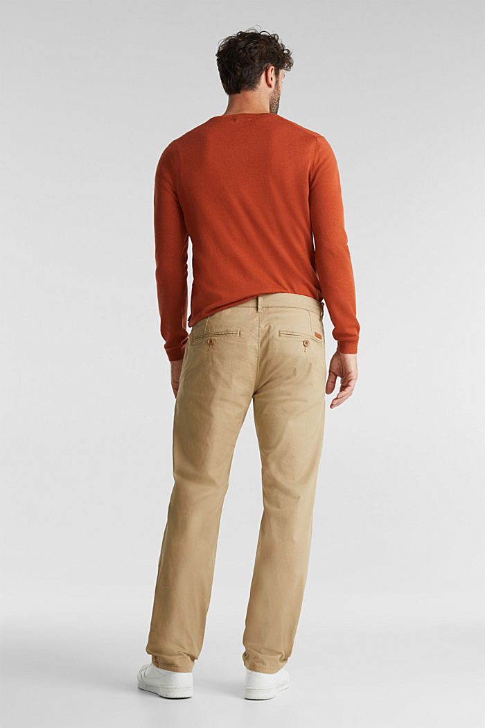 Stretch chinos made of twill, BEIGE, detail image number 3