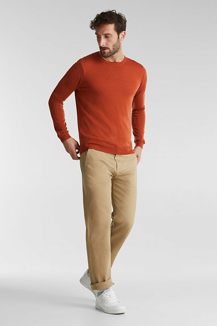 Stretch chinos made of twill, BEIGE, detail image number 1