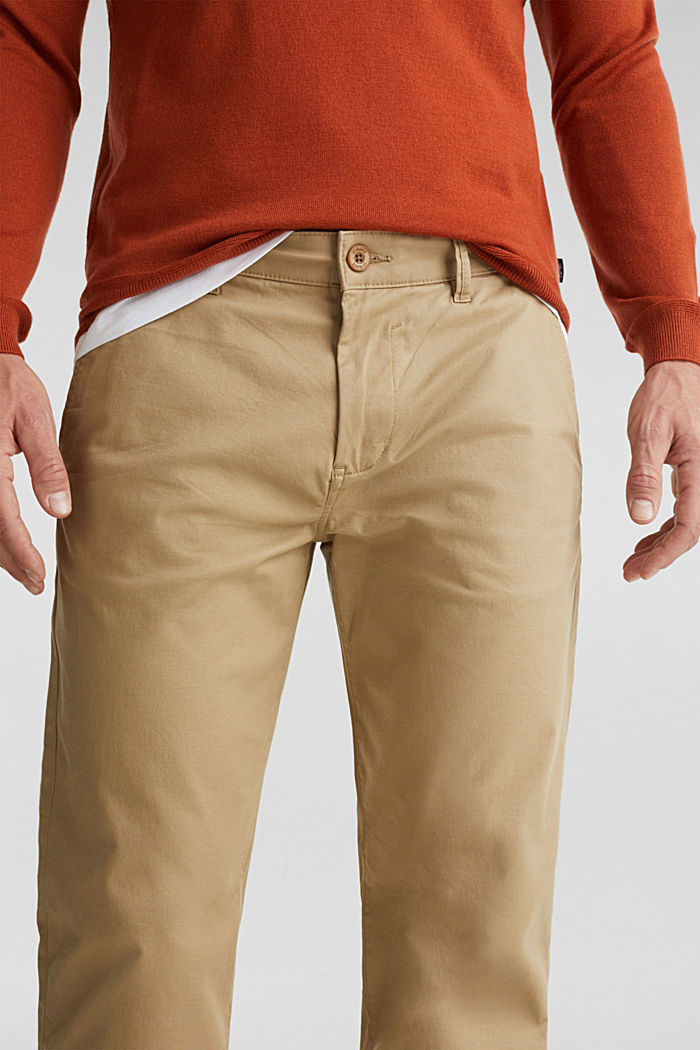 Stretch chinos made of twill, BEIGE, detail image number 2