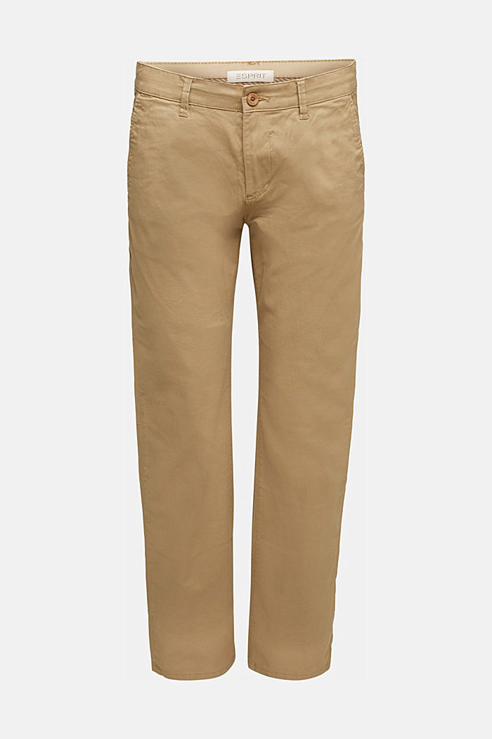 Stretch chinos made of twill, BEIGE, detail image number 6