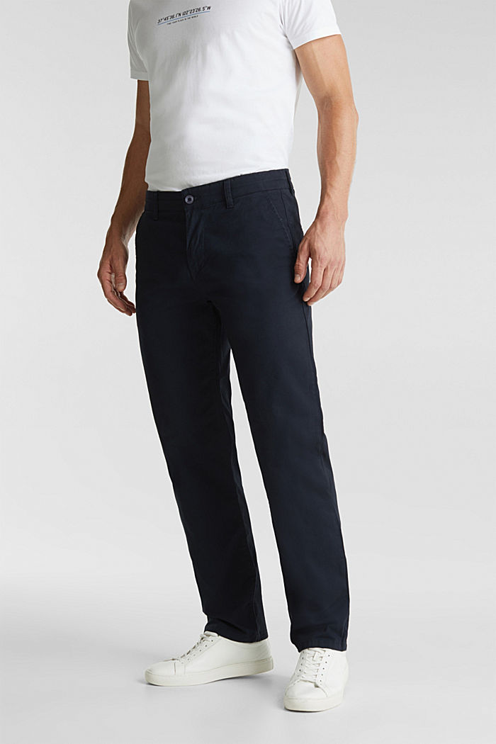 Stretch chinos made of twill, NAVY, detail image number 0
