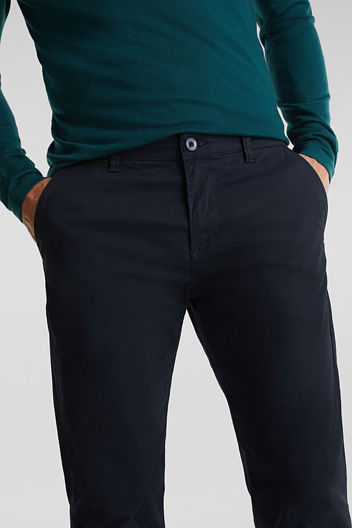 Stretch chinos made of twill, NAVY, detail image number 2