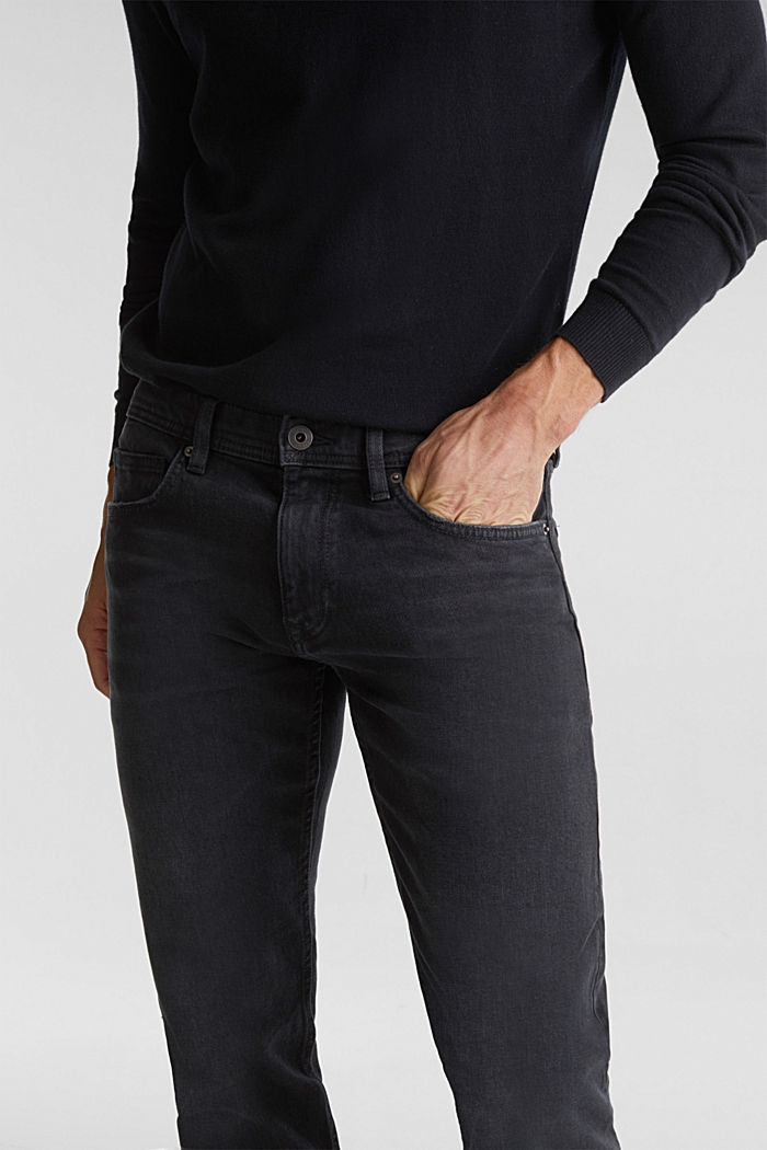 Garment washed jeans, organic cotton, BLACK DARK WASHED, detail image number 5