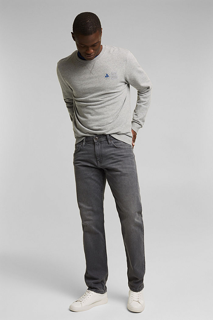 Stretch jeans in organic cotton, GREY MEDIUM WASHED, detail image number 1
