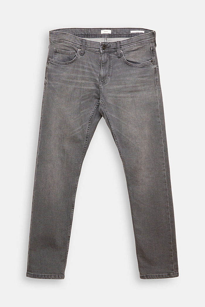 Stretch-Jeans mit Organic Cotton, GREY MEDIUM WASHED, overview