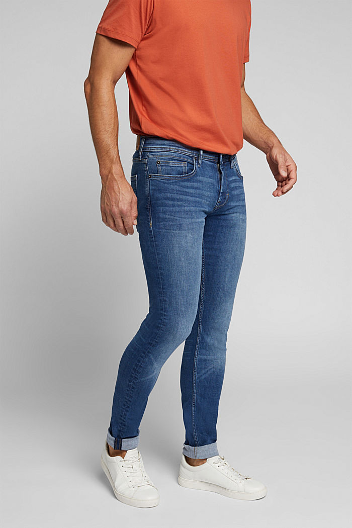 Organic cotton jeans with recycled material, BLUE MEDIUM WASHED, detail image number 0