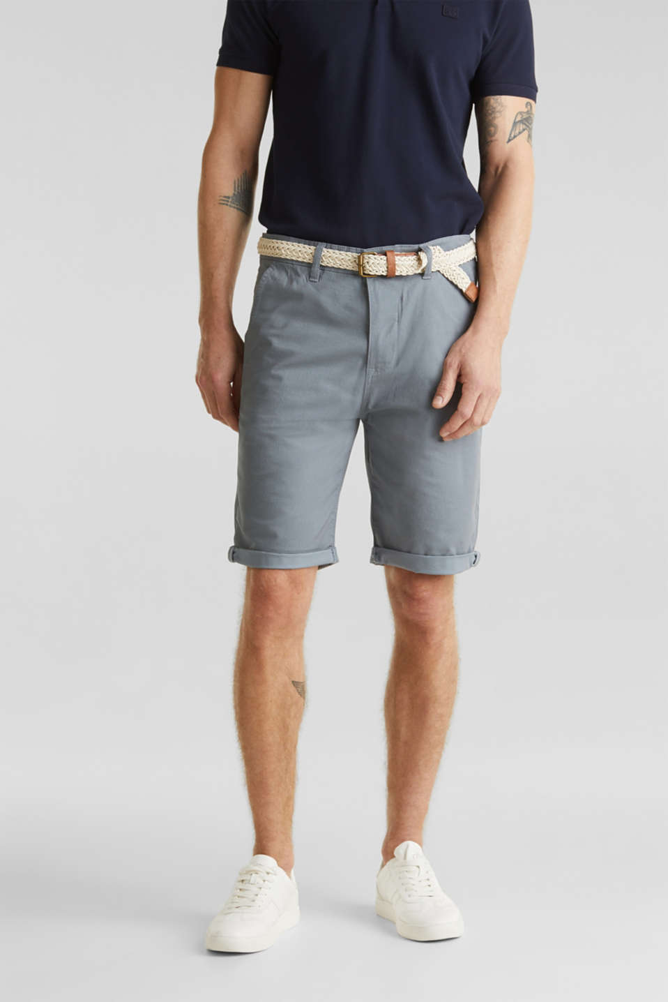 Shorts with organic cotton, GREY BLUE, detail image number 0