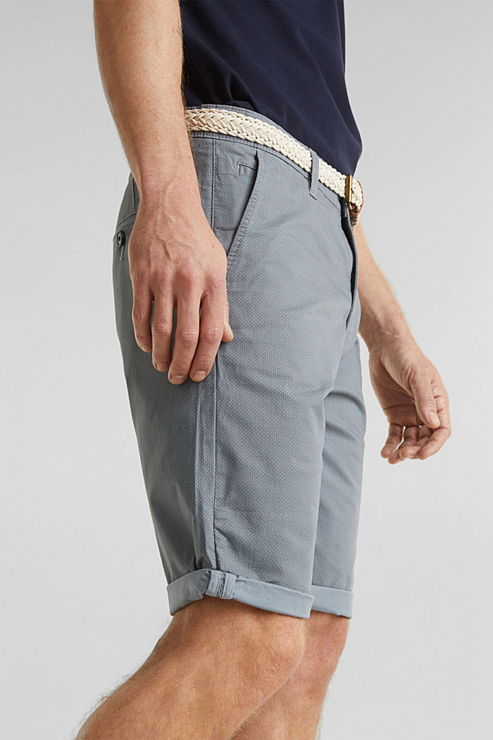 Organic cotton Shorts + belt, GREY BLUE, detail image number 6
