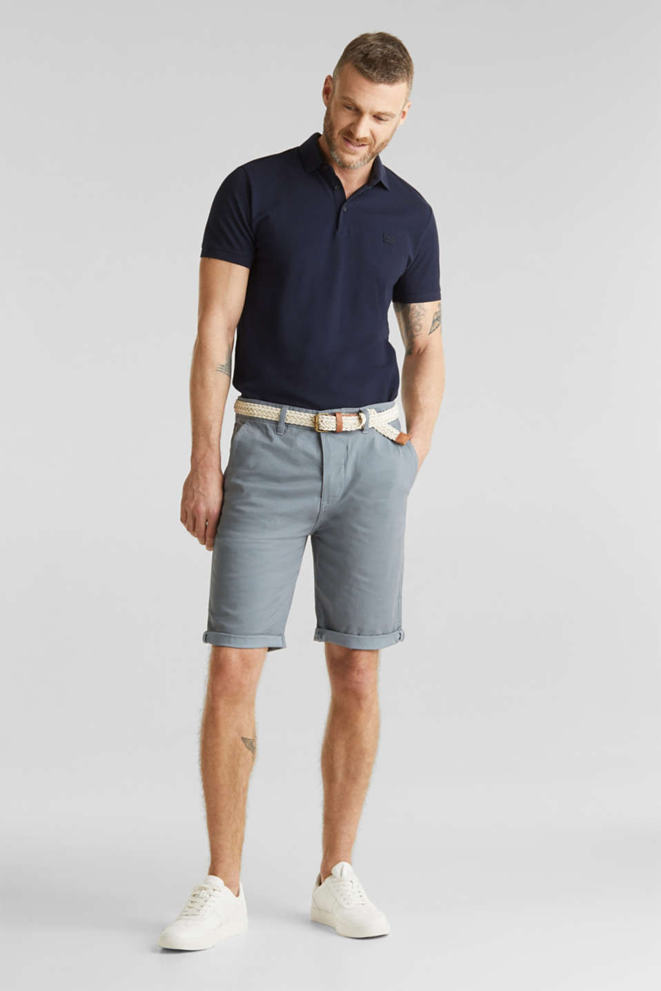 Shorts with organic cotton, GREY BLUE, detail image number 1
