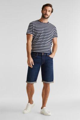 Denim shorts with organic cotton, BLUE DARK WASH, detail