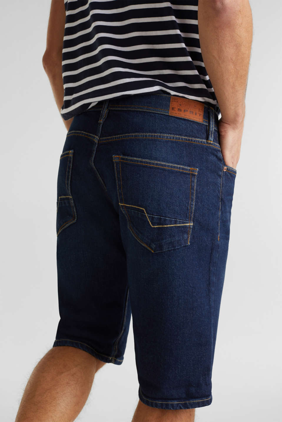 Denim shorts with organic cotton, BLUE DARK WASH, detail image number 6