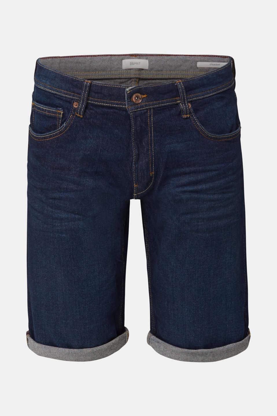 Denim shorts with organic cotton, BLUE DARK WASH, detail image number 7