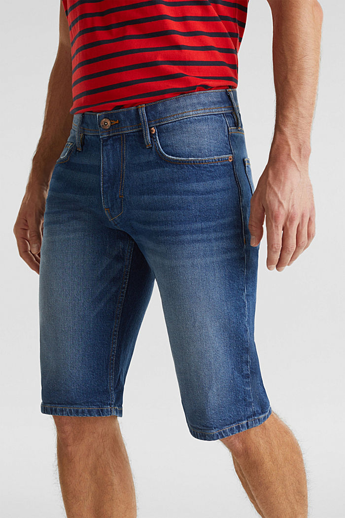 Shorts in denim con cotone biologico, BLUE MEDIUM WASHED, detail image number 2