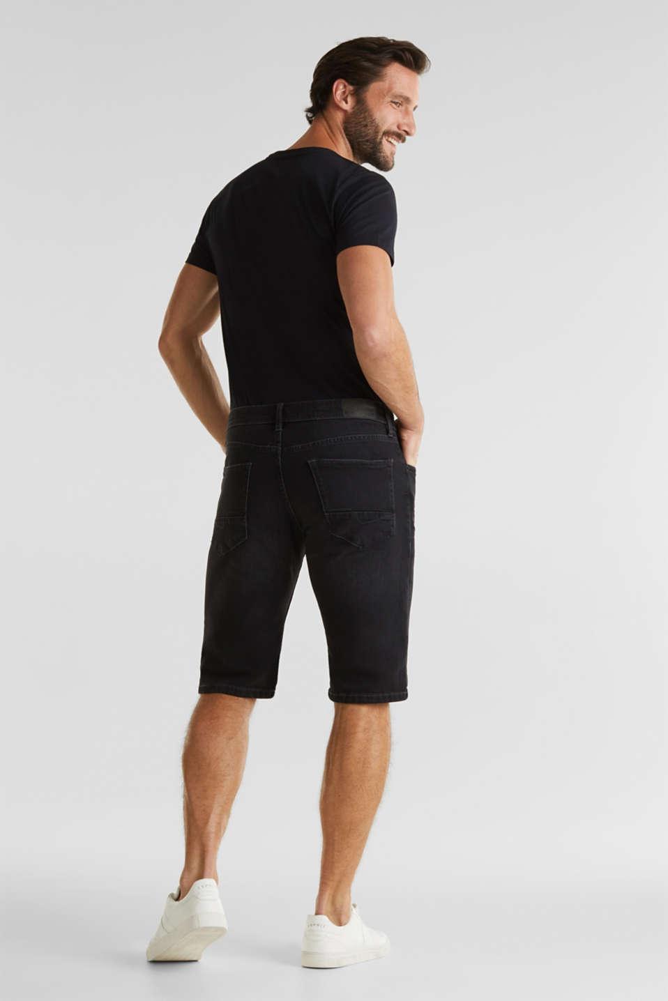 Denim shorts with organic cotton, BLACK MEDIUM WASH, detail image number 3