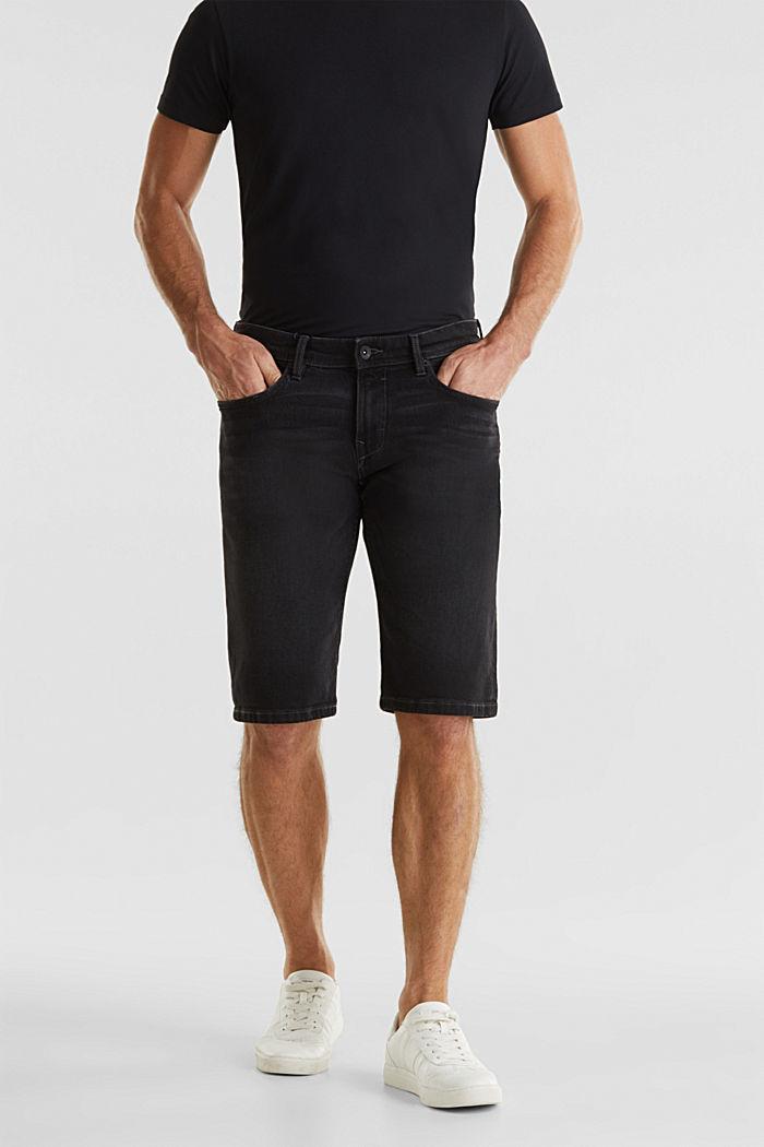 Denim shorts with organic cotton, BLACK MEDIUM WASHED, detail image number 4