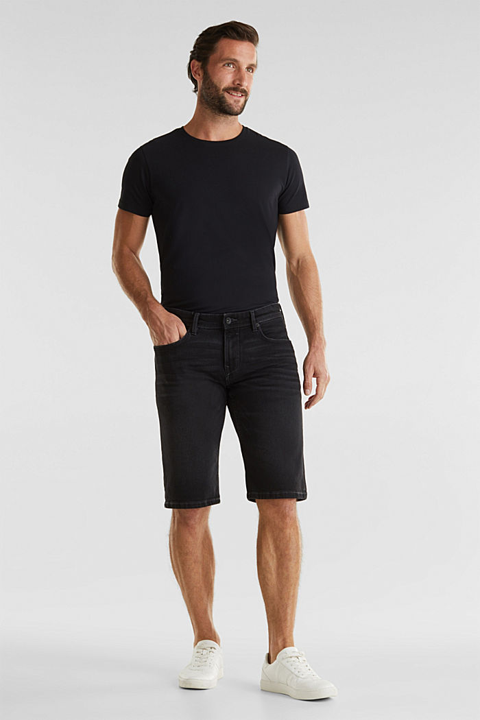 Denim shorts with organic cotton, BLACK MEDIUM WASHED, detail image number 1