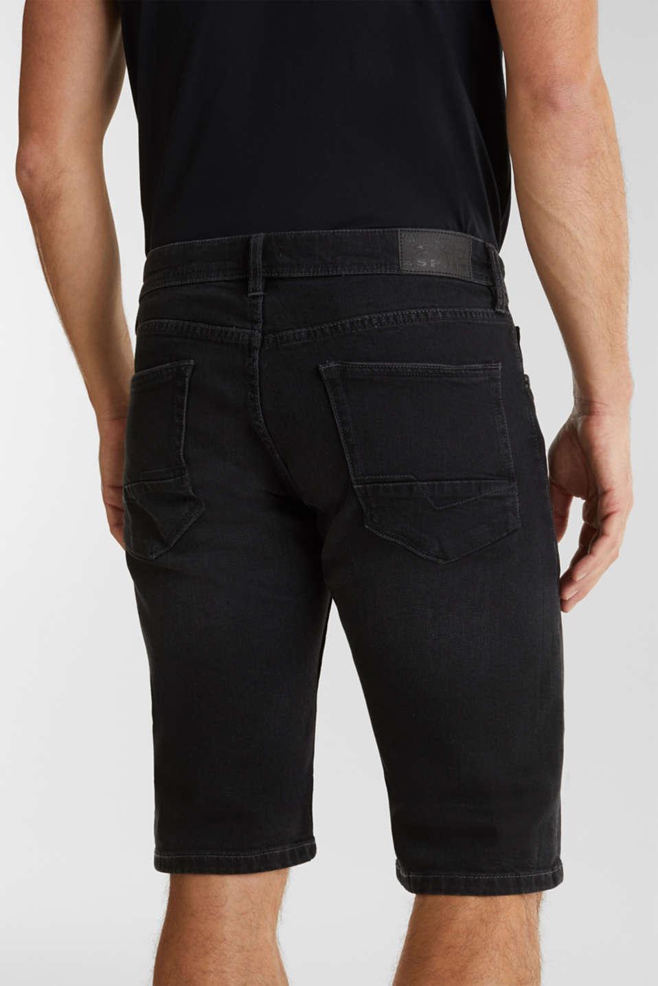 Denim shorts with organic cotton, BLACK MEDIUM WASH, detail image number 6