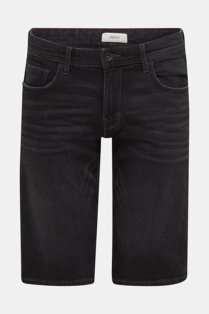 Denim shorts with organic cotton, BLACK MEDIUM WASHED, detail image number 7