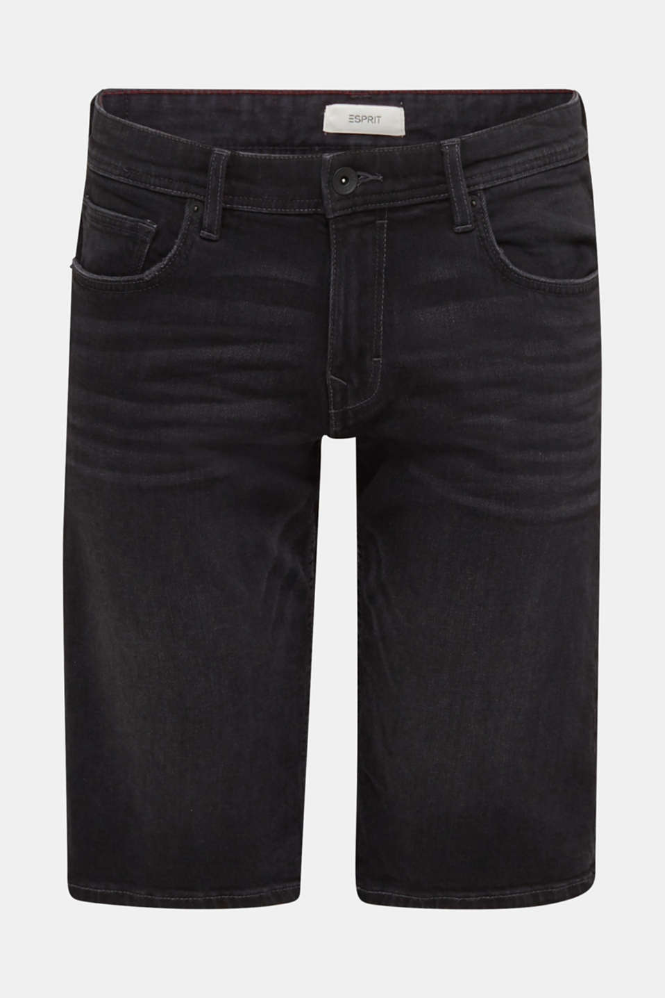 Denim shorts with organic cotton, BLACK MEDIUM WASH, detail image number 7