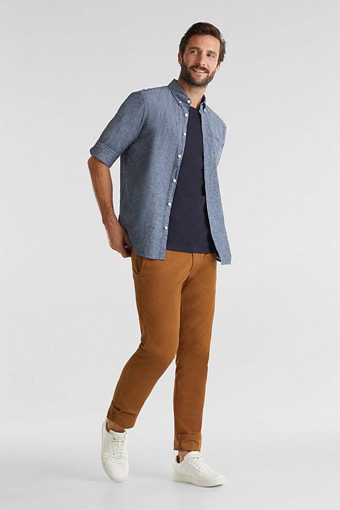 Met linnen: overhemd met buttondownkraag, NAVY, detail image number 1