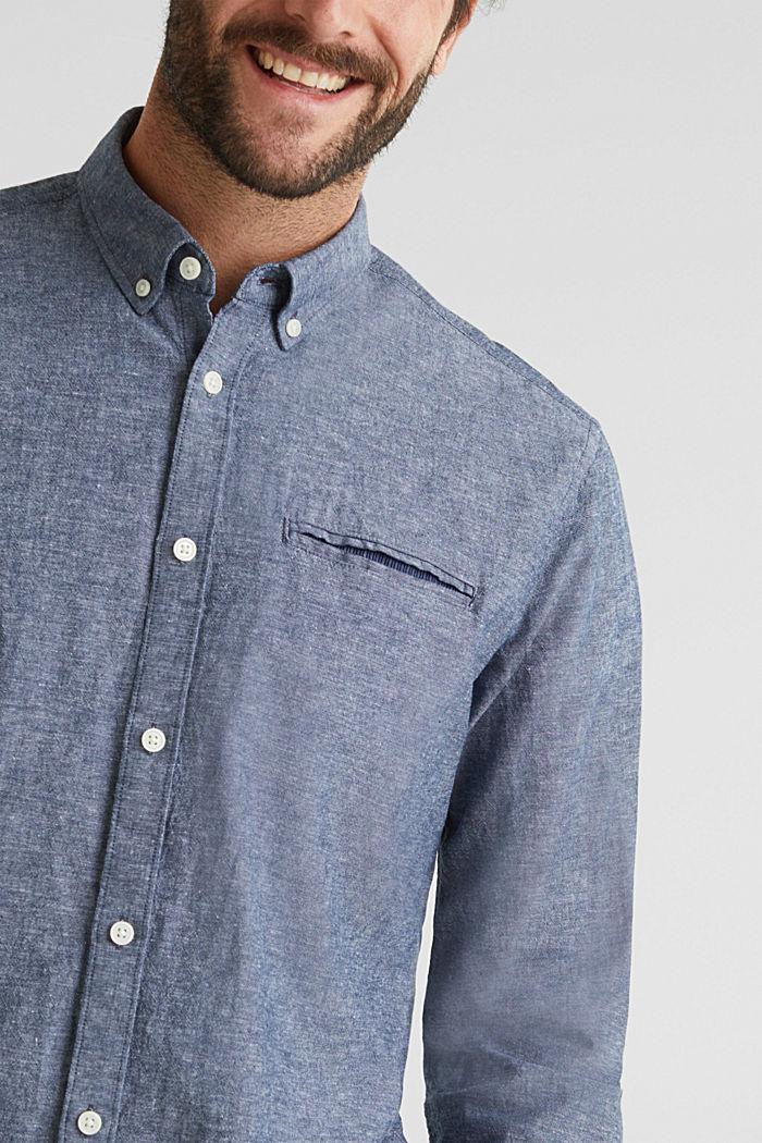 Met linnen: overhemd met buttondownkraag, NAVY, detail image number 2