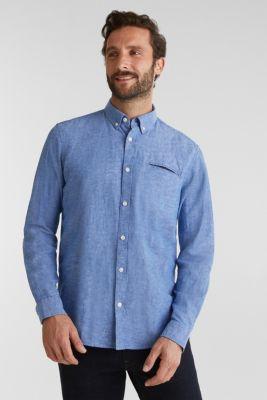 With linen: button-down shirt, LIGHT BLUE 5, detail