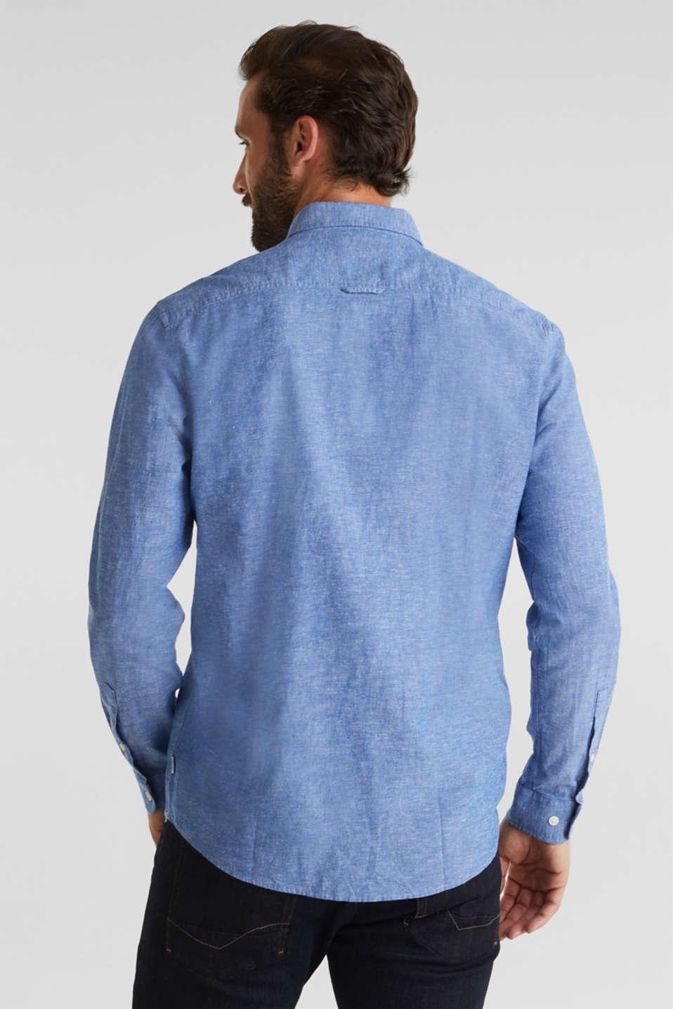 Blended linen: Melange button-down shirt, LIGHT BLUE 5, detail image number 2
