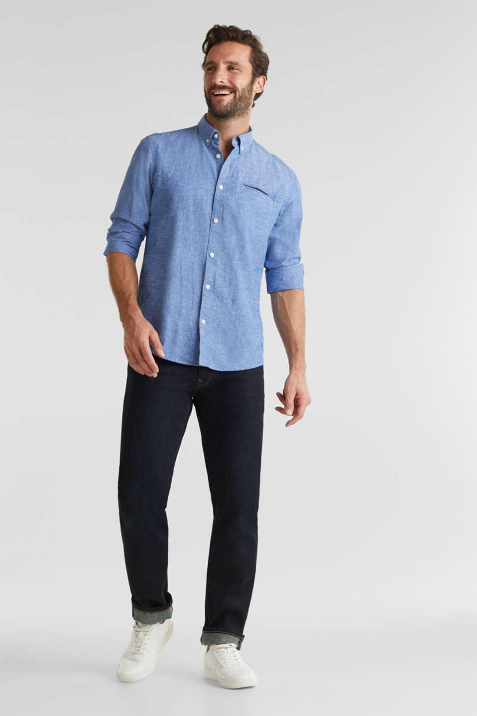 Blended linen: Melange button-down shirt, LIGHT BLUE 5, detail image number 1