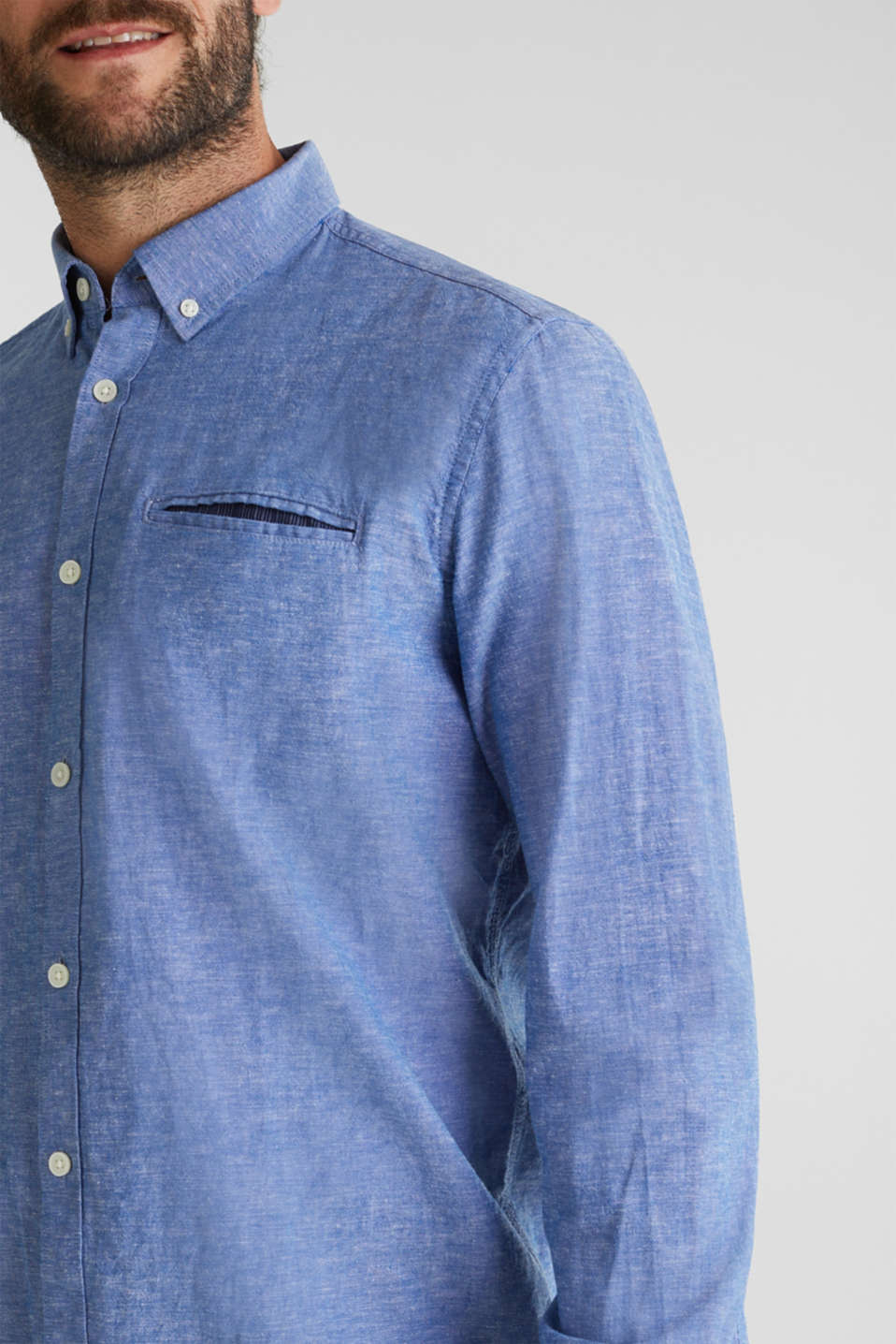 With linen: button-down shirt, LIGHT BLUE 5, detail image number 1