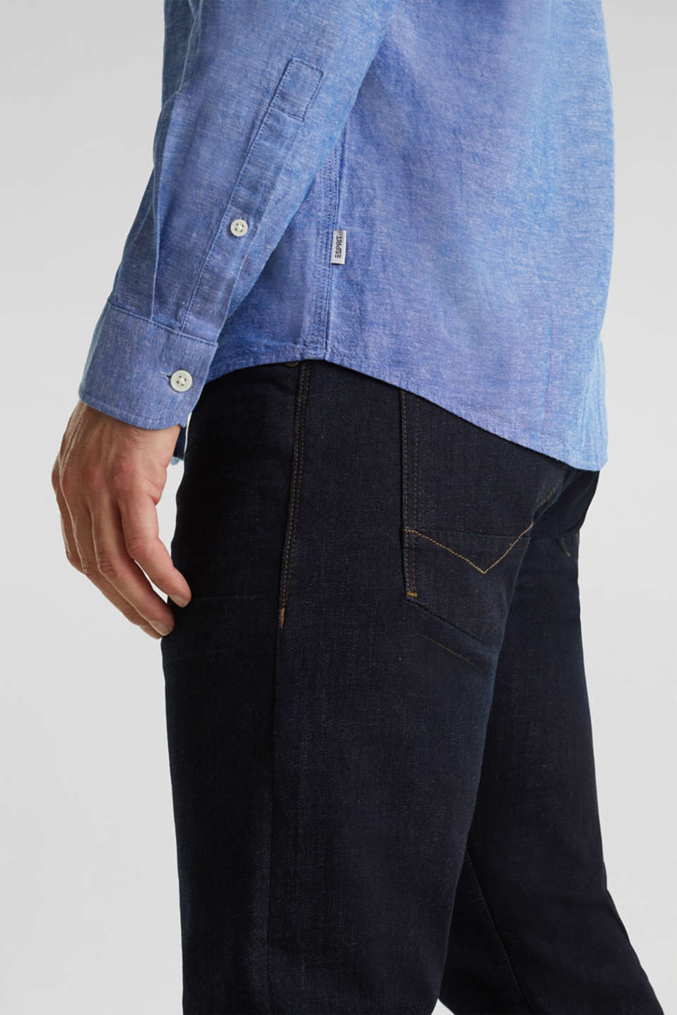 Blended linen: Melange button-down shirt, LIGHT BLUE 5, detail image number 4
