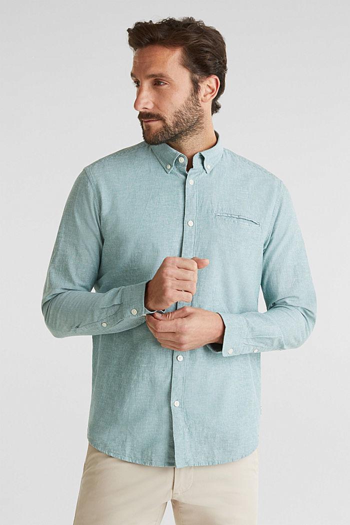 Con lino: camicia con righe gessate, GREEN, detail image number 0
