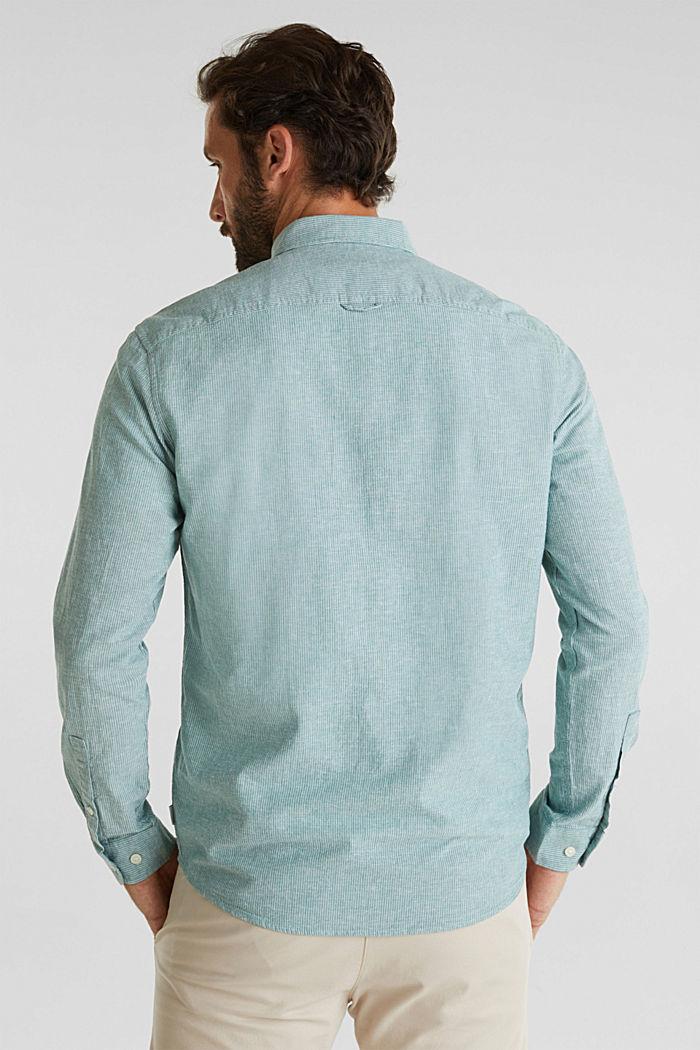 Con lino: camicia con righe gessate, GREEN, detail image number 3