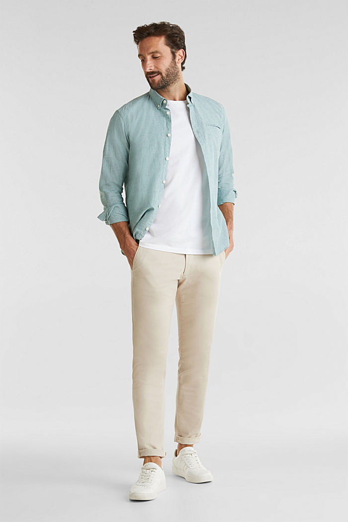 Con lino: camicia con righe gessate, GREEN, detail image number 1