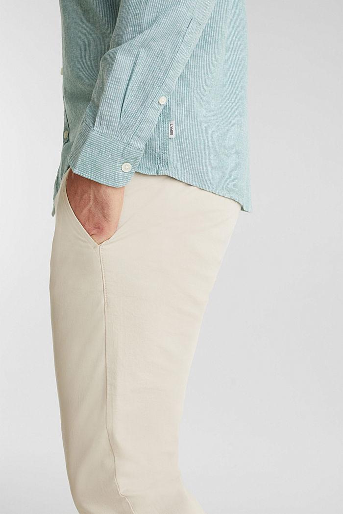Con lino: camicia con righe gessate, GREEN, detail image number 2