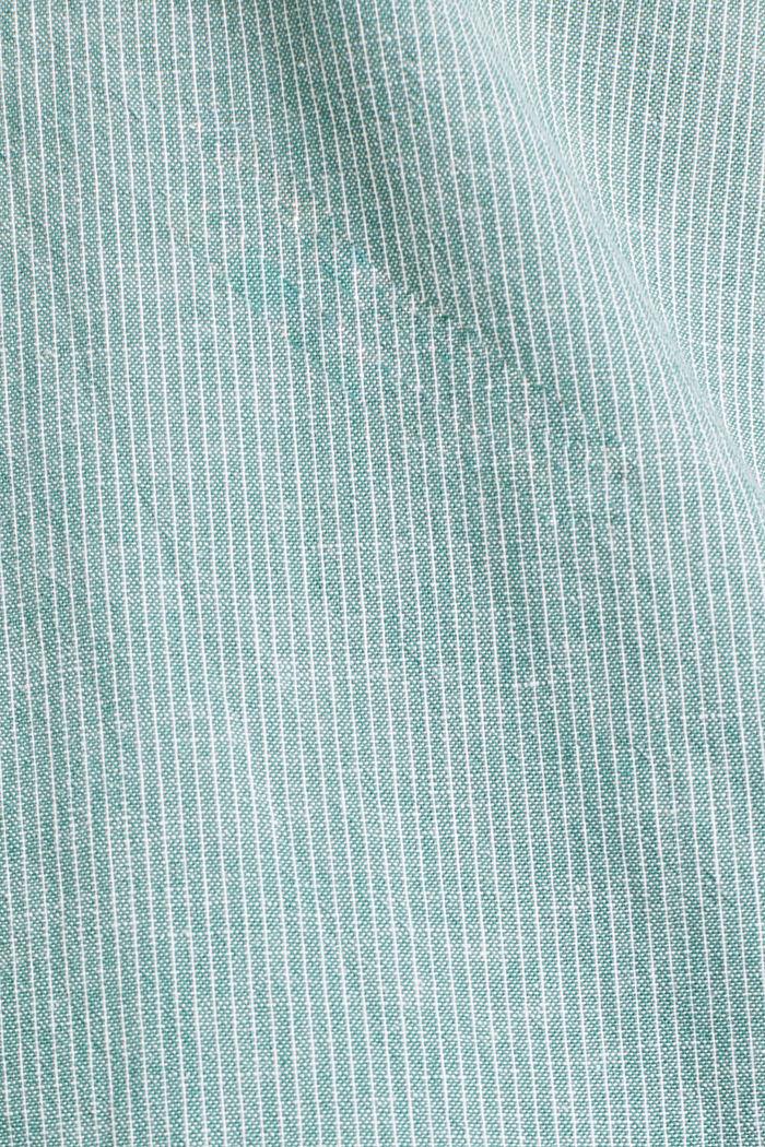 Con lino: camicia con righe gessate, GREEN, detail image number 4