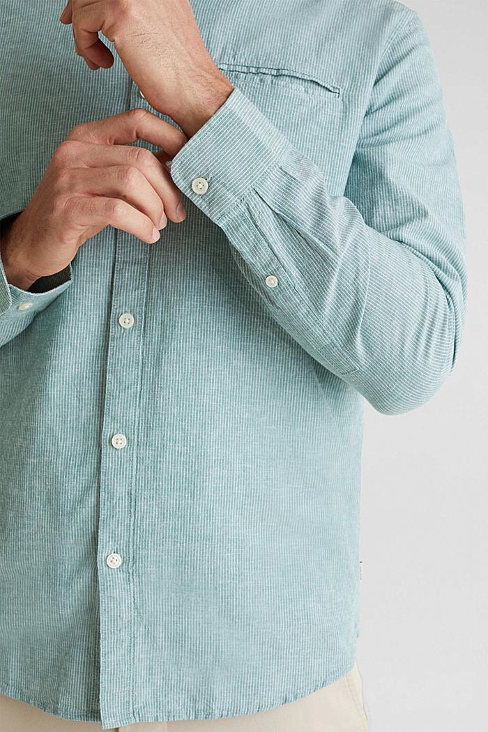 Mit Leinen: Hemd mit Nadelstreifen, GREEN, detail image number 5