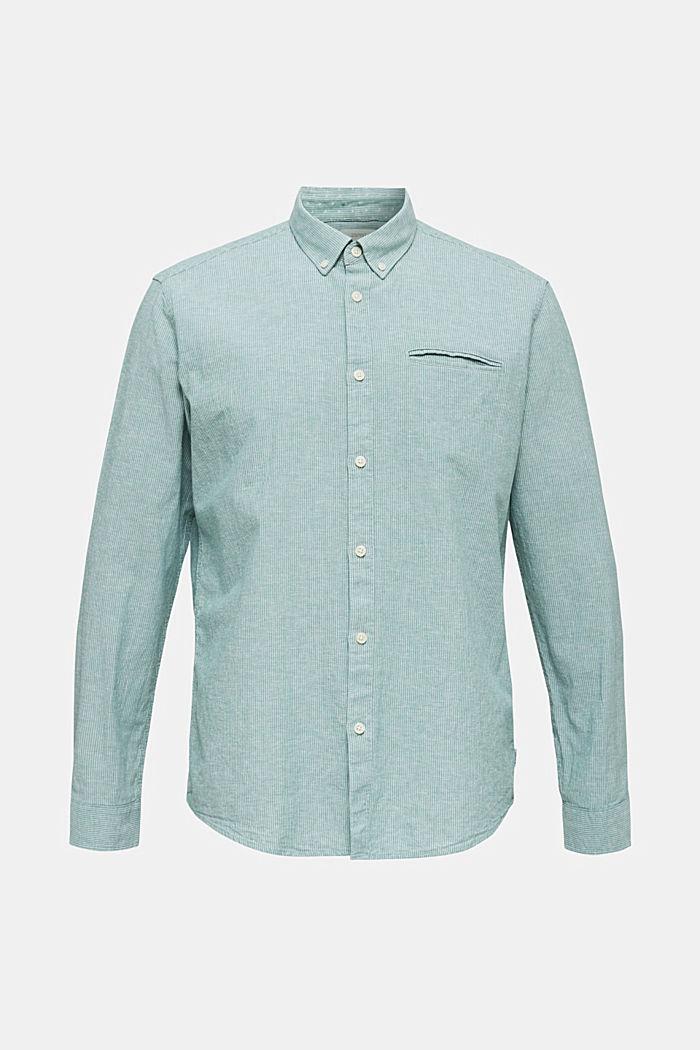 Con lino: camicia con righe gessate, GREEN, detail image number 6
