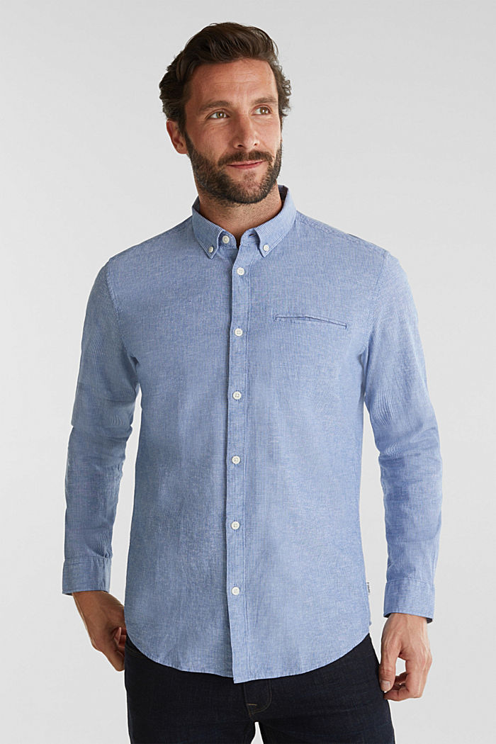 Blended linen: pinstripe shirt, LIGHT BLUE, detail image number 0