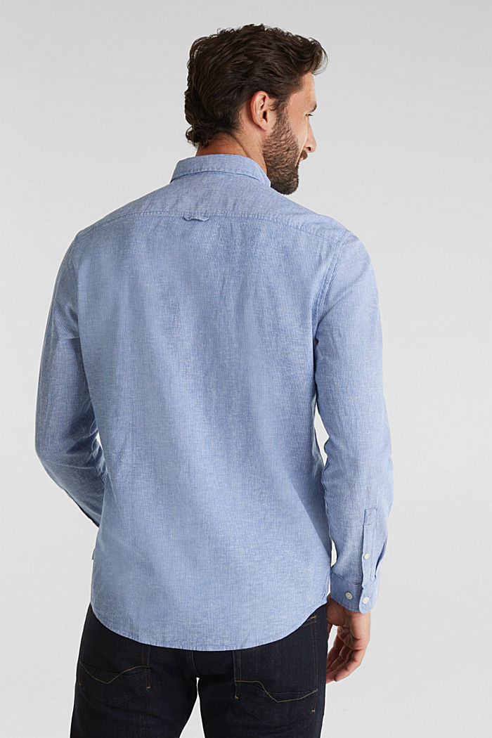 Blended linen: pinstripe shirt, LIGHT BLUE, detail image number 3