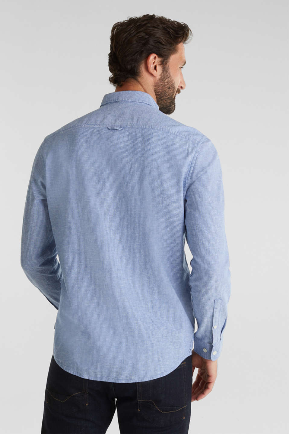 Blended linen: pinstripe shirt, LIGHT BLUE 3, detail image number 2