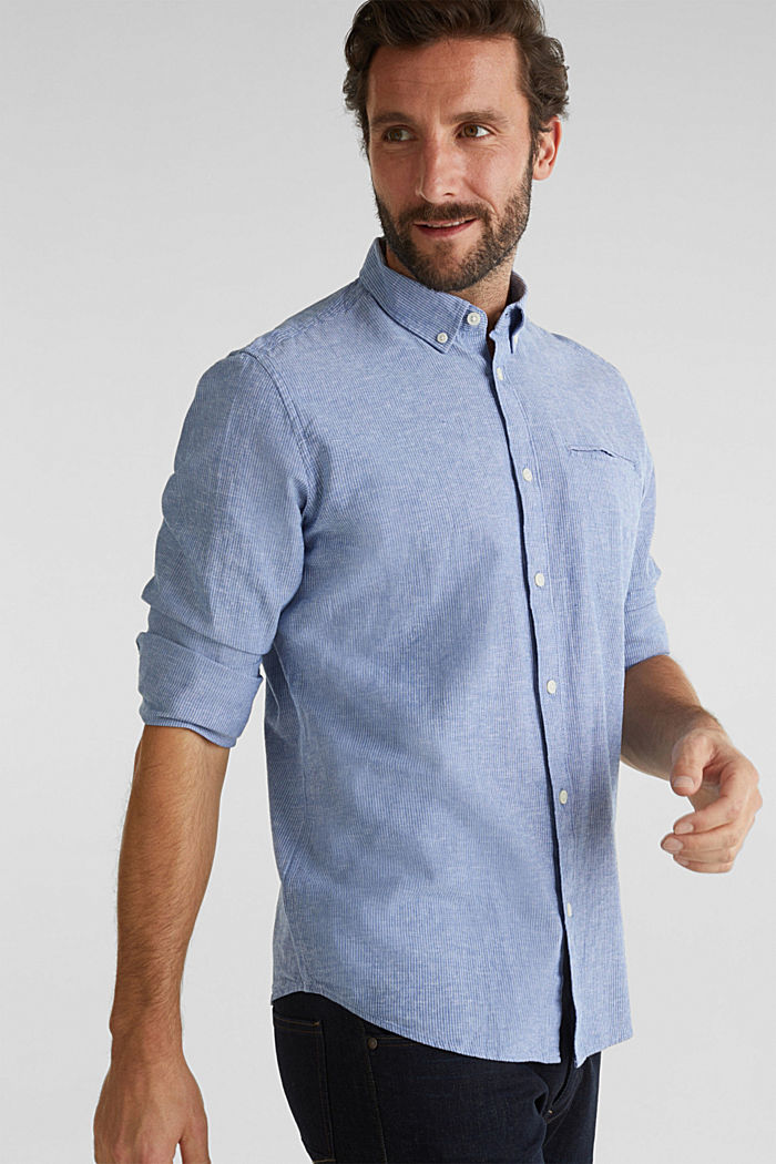 Blended linen: pinstripe shirt, LIGHT BLUE, overview